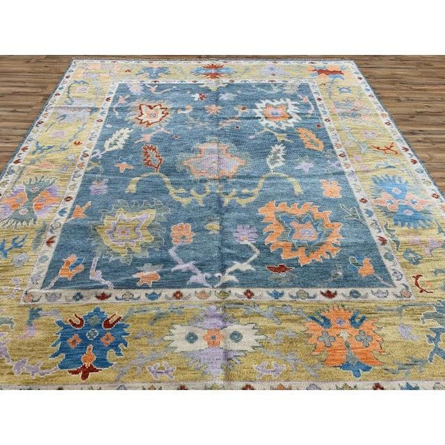Textile Blue Oushak Rug- 8′ × 10′ For Sale - Image 7 of 11