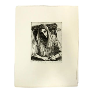 """Girl Writing"" Lithograph Marilyn Spencer (New Orleans, 1939-2017) For Sale"