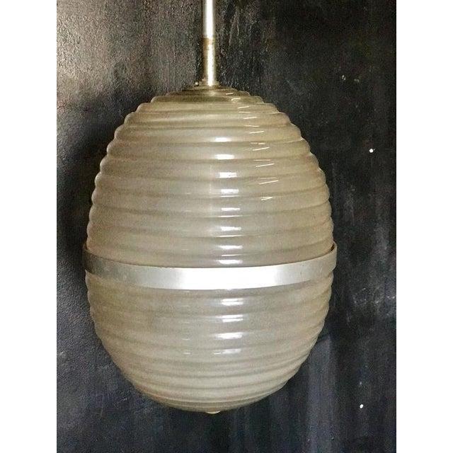 Italian Murano Milk Glass Egg Pendant Light 1960/70 For Sale - Image 3 of 6