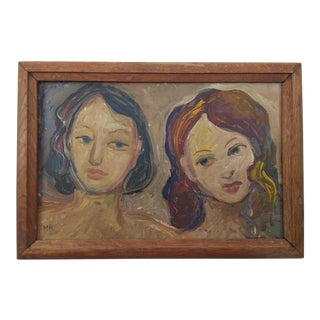 Vintage Mid-Century Portrait of Two Females Painting For Sale