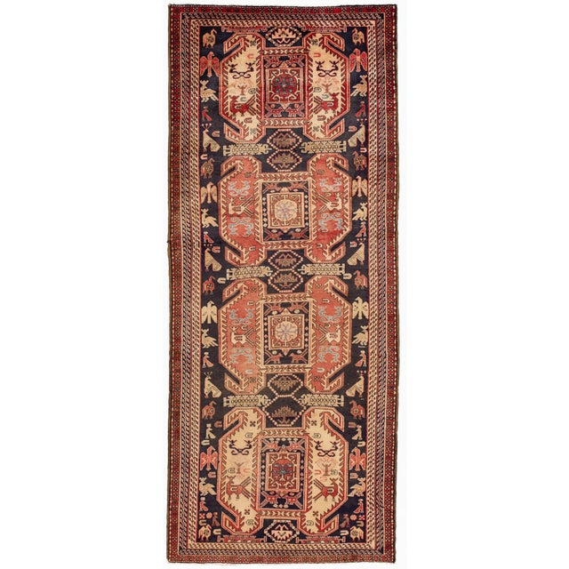 """Red Apadana - Vintage North West Persian Rug, 4'3"""" X 10'4"""" For Sale - Image 8 of 8"""