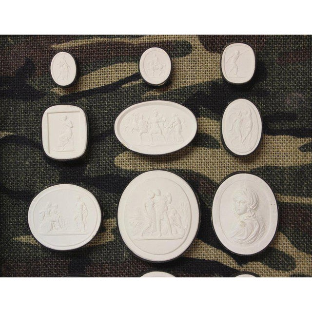 Mid 19th Century Antique Plaster Framed Camouflage Intaglios - Set of 2 For Sale - Image 5 of 8