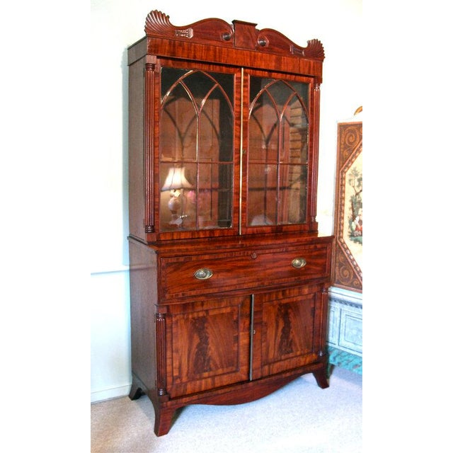 English William IV Mahogany Secretary Bookcase For Sale - Image 9 of 11