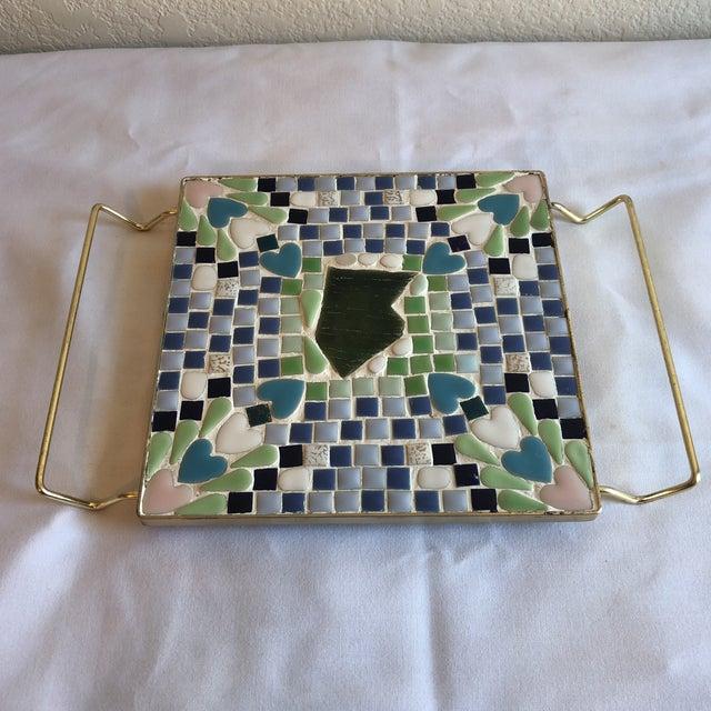 Blue Vintage Blue & Green Mosaic Trivet For Sale - Image 8 of 8