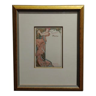 Alphonse Mucha -Original 1900s Moet Et Chandon Champagne Menu Card For Sale