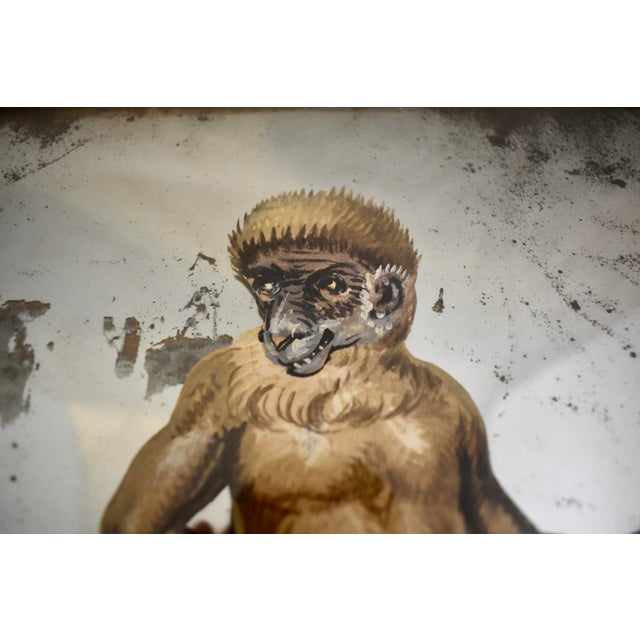 19th C. French Exotic Hand-Painted Decoupage Mirror, Animal Trainer, Monkey & Bear For Sale In Philadelphia - Image 6 of 13