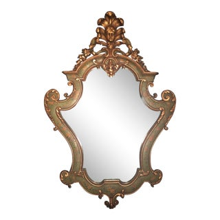 19th Century Antique Venetian Baroque Style Wood Carved Wall Mirror For Sale