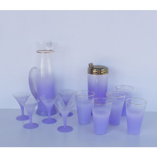 West Virginia Glass Frosted Cocktail Set - Image 2 of 8