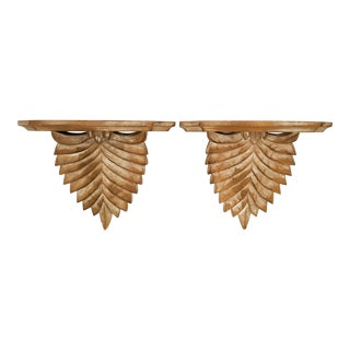 20th Century Italian Ethan Allen Wooden Wall BracketShelves - a Pair For Sale