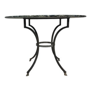 Marble Top Garden Table , Iron & Brass For Sale