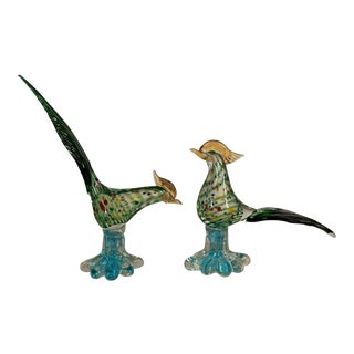 1950s Mid-Century Modern Murano Glass Pheasants - a Pair For Sale