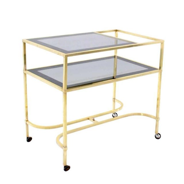 Gold Nice Solid Brass Profile Serving Cart For Sale - Image 8 of 10