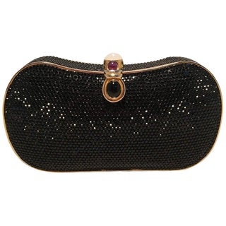Judith Leiber Black Swarovski Crystal Minaudiere Evening Bag Clutch For Sale