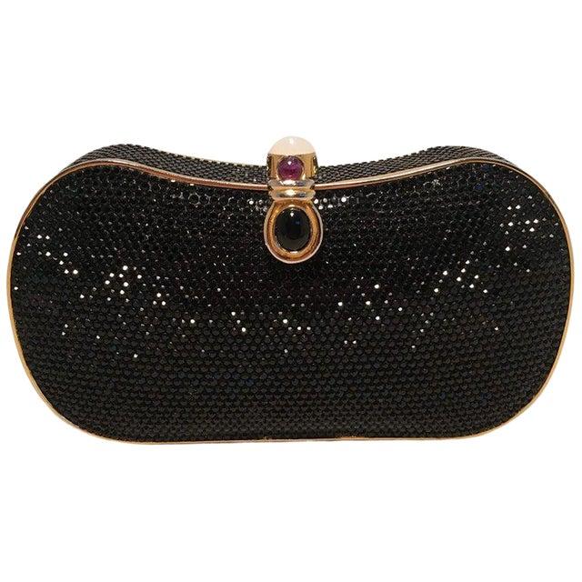Judith Leiber Black Swarovski Crystal Minaudiere Evening Bag Clutch For Sale