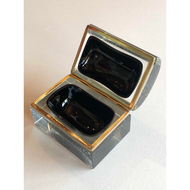 Italian Mid Century Silver Leaf and Black Murano Sommerso Box For Sale In Dallas - Image 6 of 9