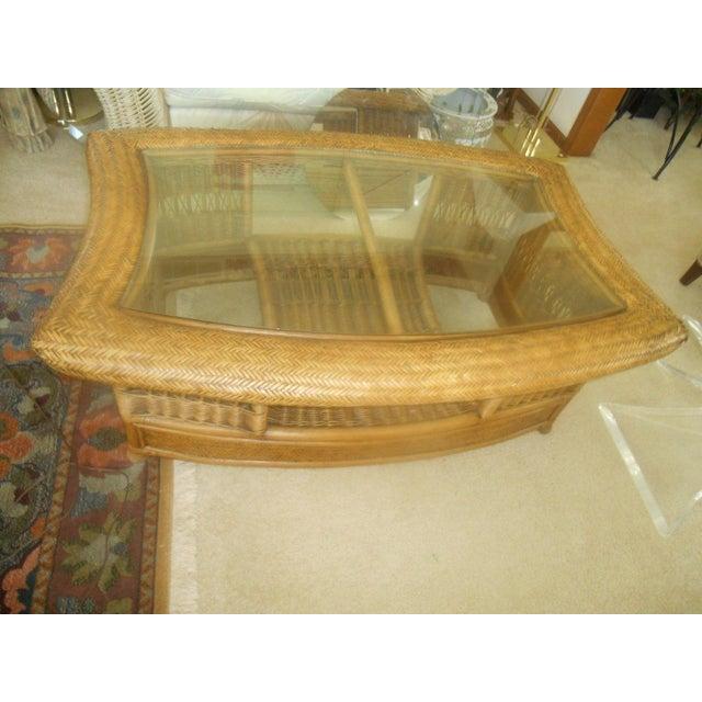 Fendi Palm Beach Regency Wicker Coffee Table - Image 3 of 7