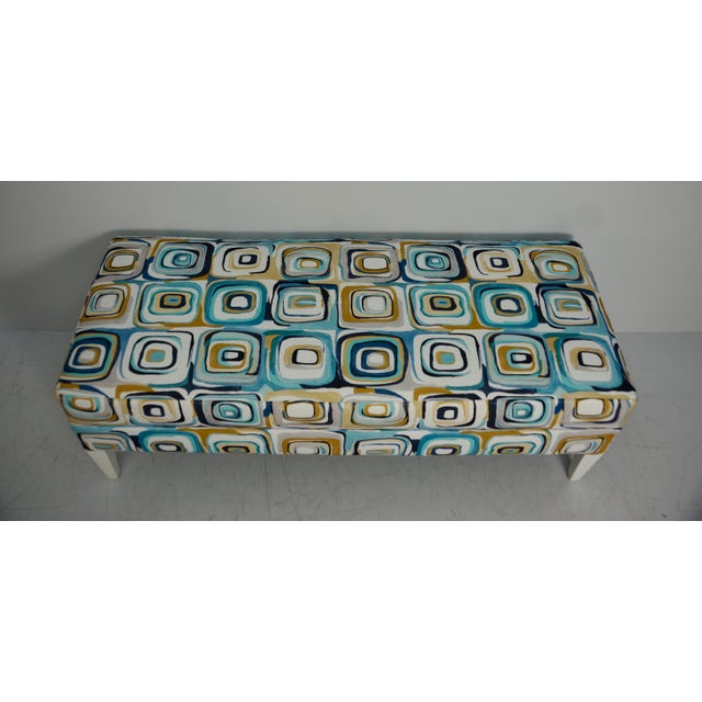 Abstract Blue & Tan Upholstered Bench For Sale In West Palm - Image 6 of 7