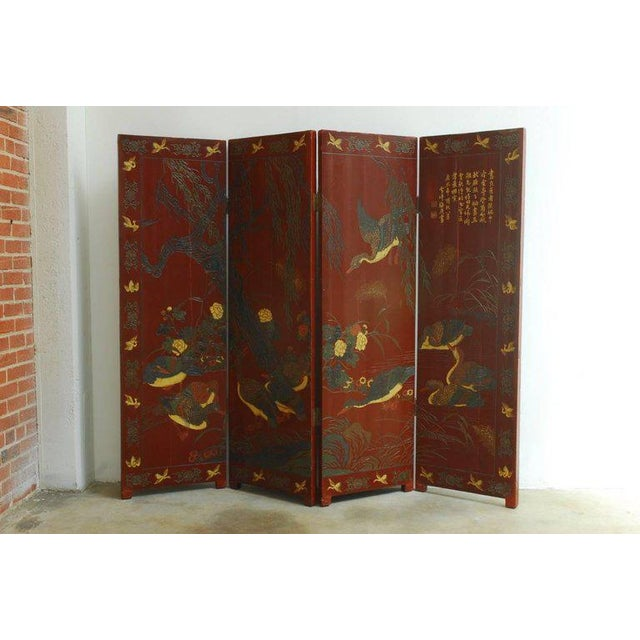 Chinese Coromandel Style Two-Sided Lacquer Screen For Sale In San Francisco - Image 6 of 13