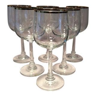 """Vintage Fostoria Etched """"F Monogram"""" Gold Rim Crystal Cocktail Glasses - Set of 6"""