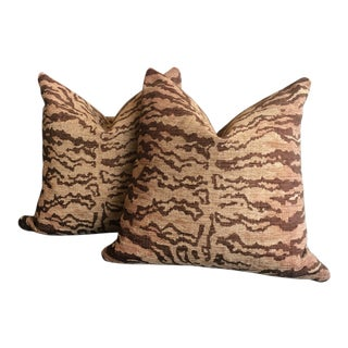 Modern Kravet on the Hunt Bronze Tiger Chenille Pillows- A Pair For Sale