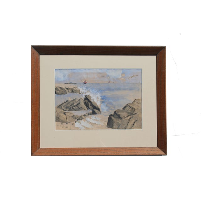 Vintage Watercolor of Coastal Seascape For Sale In Los Angeles - Image 6 of 6