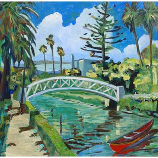 Contemporary Painting, Venice Canals, California - Landscape -X- Oil Painting For Sale