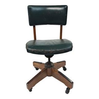 Vintage Industrial Wood Swivel Office Chair by Gunlocke For Sale