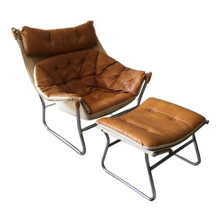Sørliemønbler As Leather & Canvas Chair & Ottoman