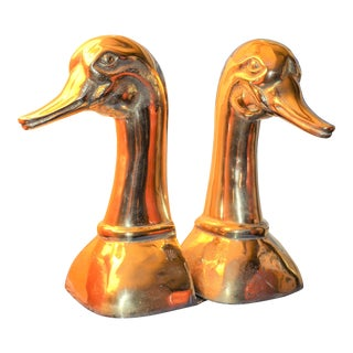 Vintage Sarreid Ltd. Solid Brass Duck Head Bookends - A Pair