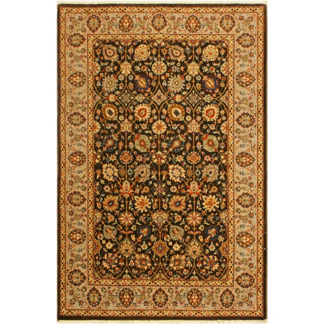 Green Istanbul Claris Brown/Lt. Tan Turkish Hand-Knotted Rug -4'3 X 6'2 For Sale - Image 8 of 8