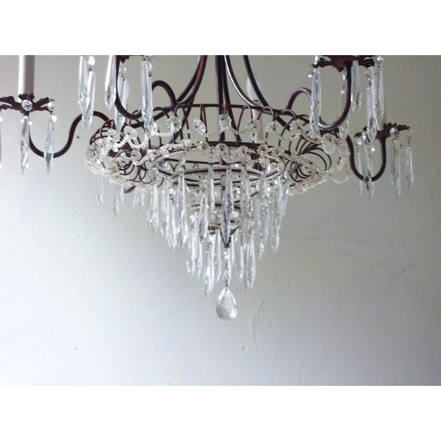 French Tole & Crystal Chandelier For Sale - Image 9 of 11