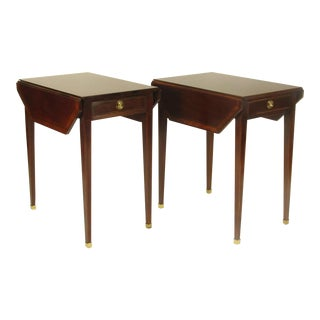 1980s Vintage Inlaid Pembroke Tables by Baker- A Pair For Sale