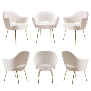 Saarinen Executive Arm Chairs in Crème Velvet, 24k Gold Edition - Set of 6