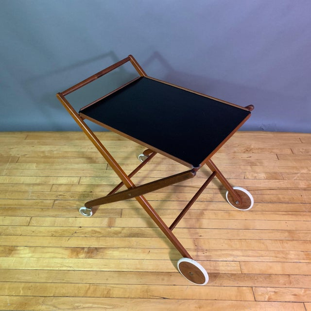 Wood 1970s Teak and Black Laminate Serving Trolley For Sale - Image 7 of 12