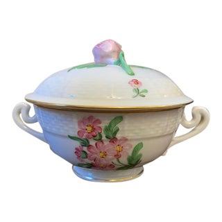 Herend Porcelain Pink Floral Trinket Dish For Sale