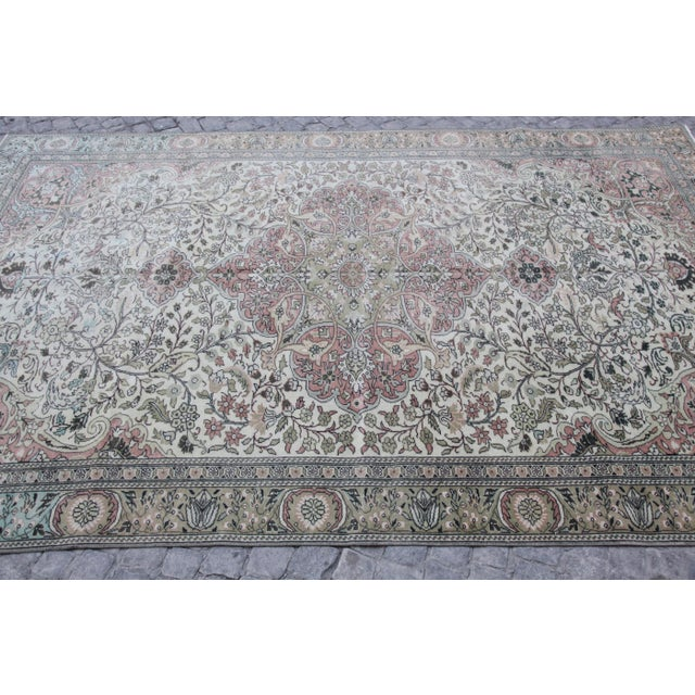 """White 1960s Vintage Floor Rug - 9'3'X 5'10"""" For Sale - Image 8 of 13"""