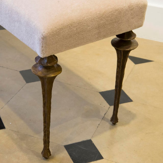 Not Yet Made - Made To Order Marc Bankowsky - Large Bench in Bronze and Velvet Mohair For Sale - Image 5 of 7
