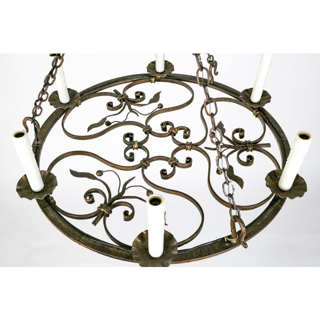 Hand Wrought Flat Leaf and Scroll Chandelier - Image 4 of 9