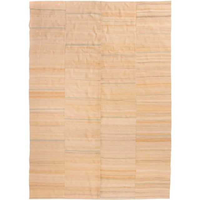 Contemporary Beige Wool Kilim Rug - 7′2″ × 10′ For Sale