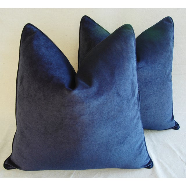 Large Designer Midnight Blue Velvet Feather/Down Pillows - Pair For Sale In Los Angeles - Image 6 of 10