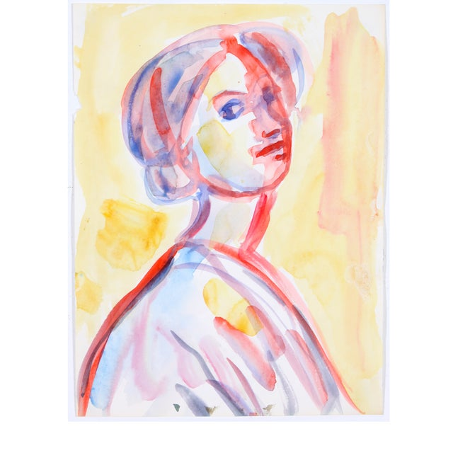 Red & Yellow Watercolor Portrait of Woman - Image 1 of 4