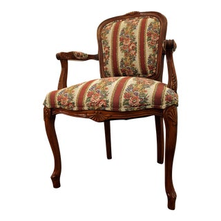 French Country Carved Upholstered Ladies Fauteuil Arm Chair