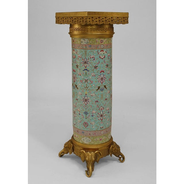 Asian Pair of English Regency Style Turquoise Chinese Porcelain Pedestals For Sale - Image 3 of 11
