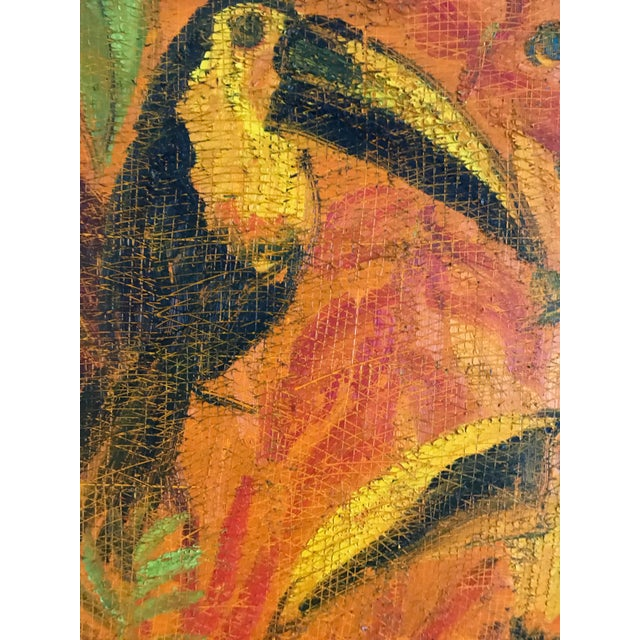 Vibrant painting of toucans by the inimitable Hunt Slonem. Made in the 2000s.