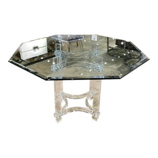 1970s Vintage Lucite Table With Octagonal Glass Top For Sale