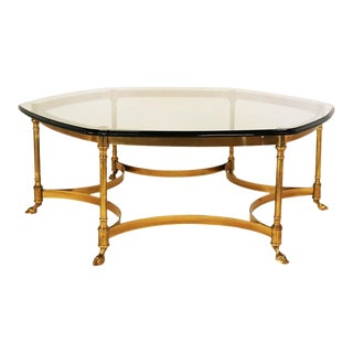 LaBarge Hexagonal Brass Glass Coffee Table For Sale