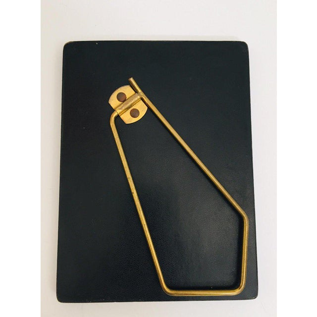 Vintage Desk Set, Black Leather and Brass Letter Rack, Picture Frame and Notepad For Sale - Image 10 of 13