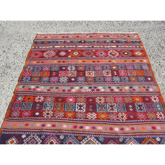 Textile Vintage Turkish Kilim Rug - 4′12″ × 7′9″ For Sale - Image 7 of 11