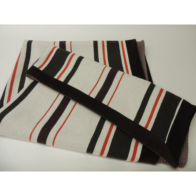 2000s Large Brown and Orange Stripes Allessandra Branca Throw For Sale - Image 5 of 6