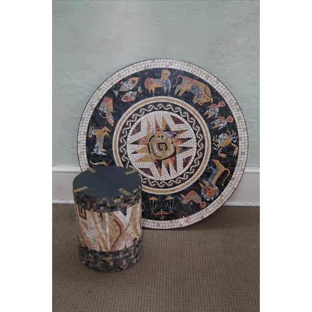 White Horoscope Mosaic Stone Tile Pedestal Coffee Table For Sale - Image 8 of 10